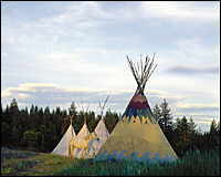 A row of colorful teepees.