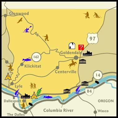 A map showing the locations of tourism attractions in Central Klickitat County.