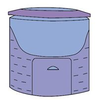 Clip art depicting the plastic holding bins composting method.