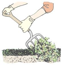 Clip art demonstrating Step 3 of constructing a compost pile.