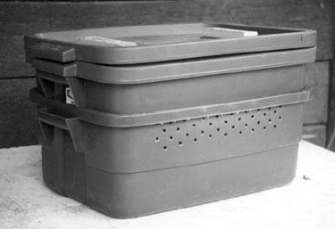 A grey rubber tub.