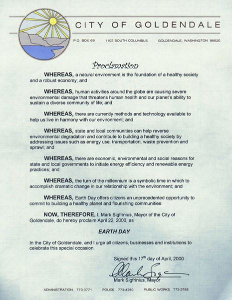 Earth Day Proclamation Statement