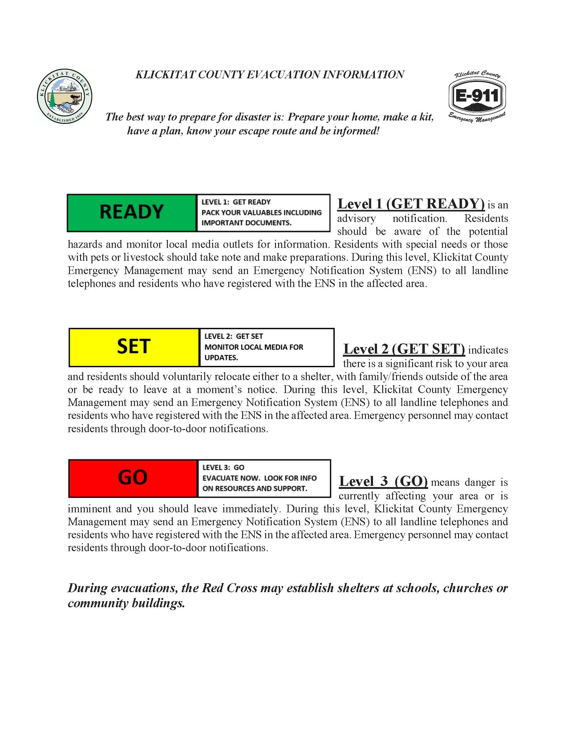 Evacuation Information Flyer
