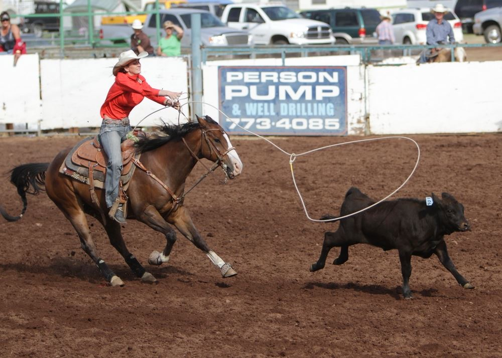 A woman throws a lasso toward a running  calf in the arena at the 2014 Klickitat County Fair.