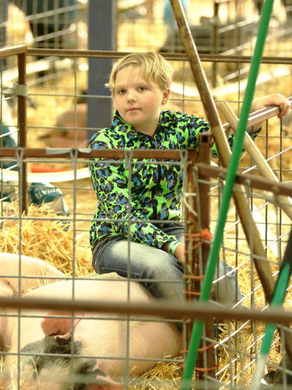 Girl takes a break to sit on her sleeping pig during the 2015 Klickitat County Fair.