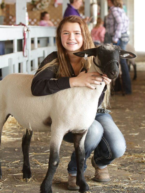A girl kneels down next to her sheep at the Klickitat County Fair.