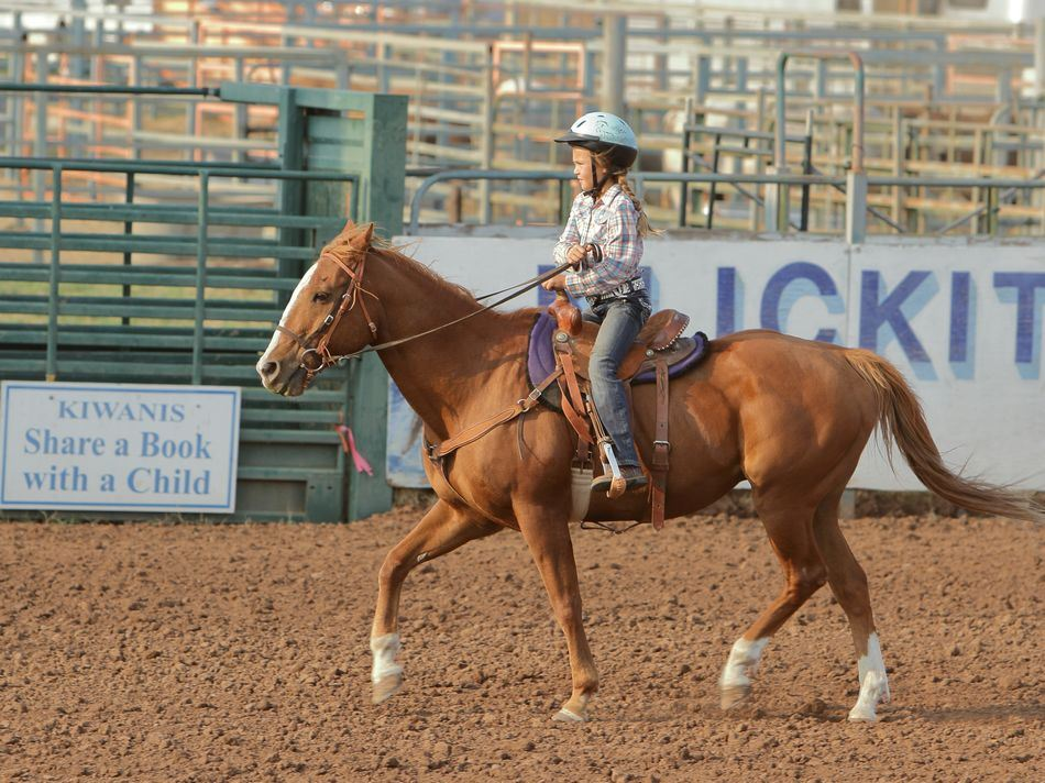 Little girl performs on her horse at the 2015 Klickitat County Fair.