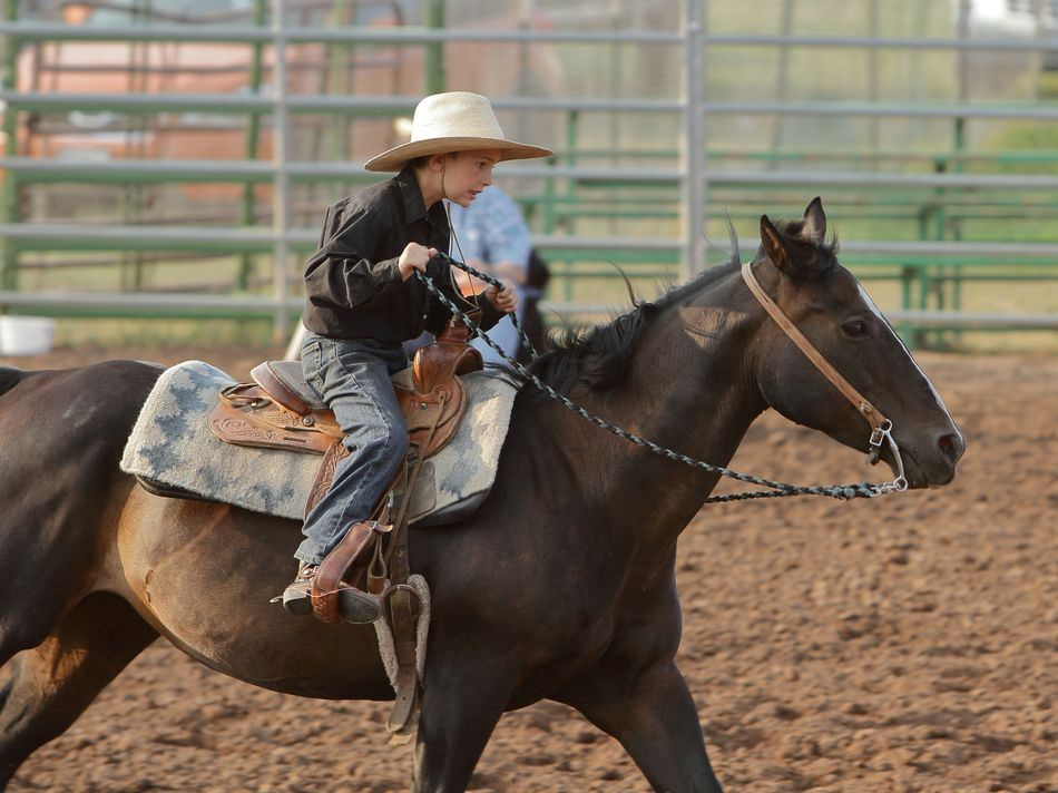 Little boy performs on his horse at the 2015 Klickitat County Fair.