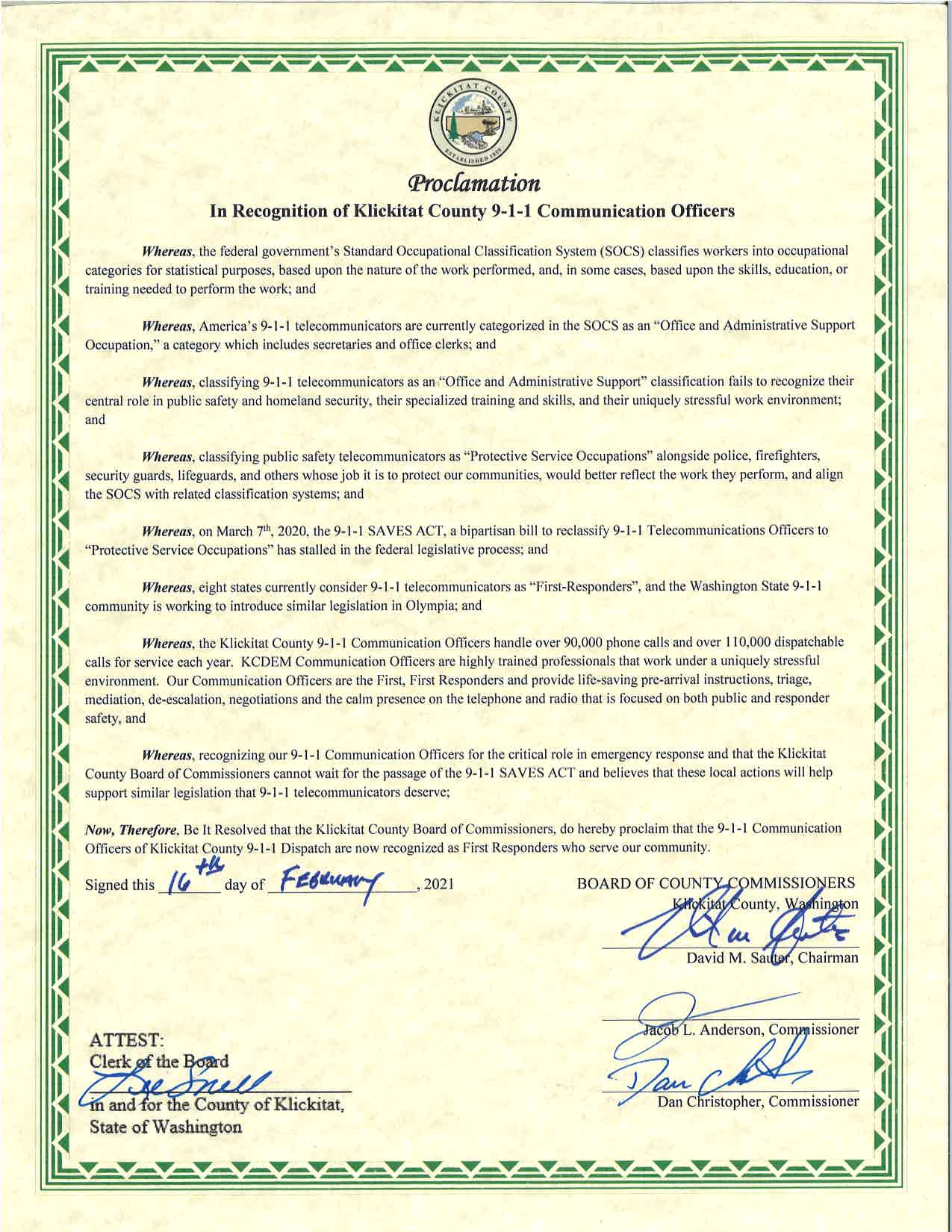 Proclamation 9-1-1 Comms Officers as First Responders