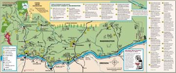 A map of tourist attractions in Klickitat County.