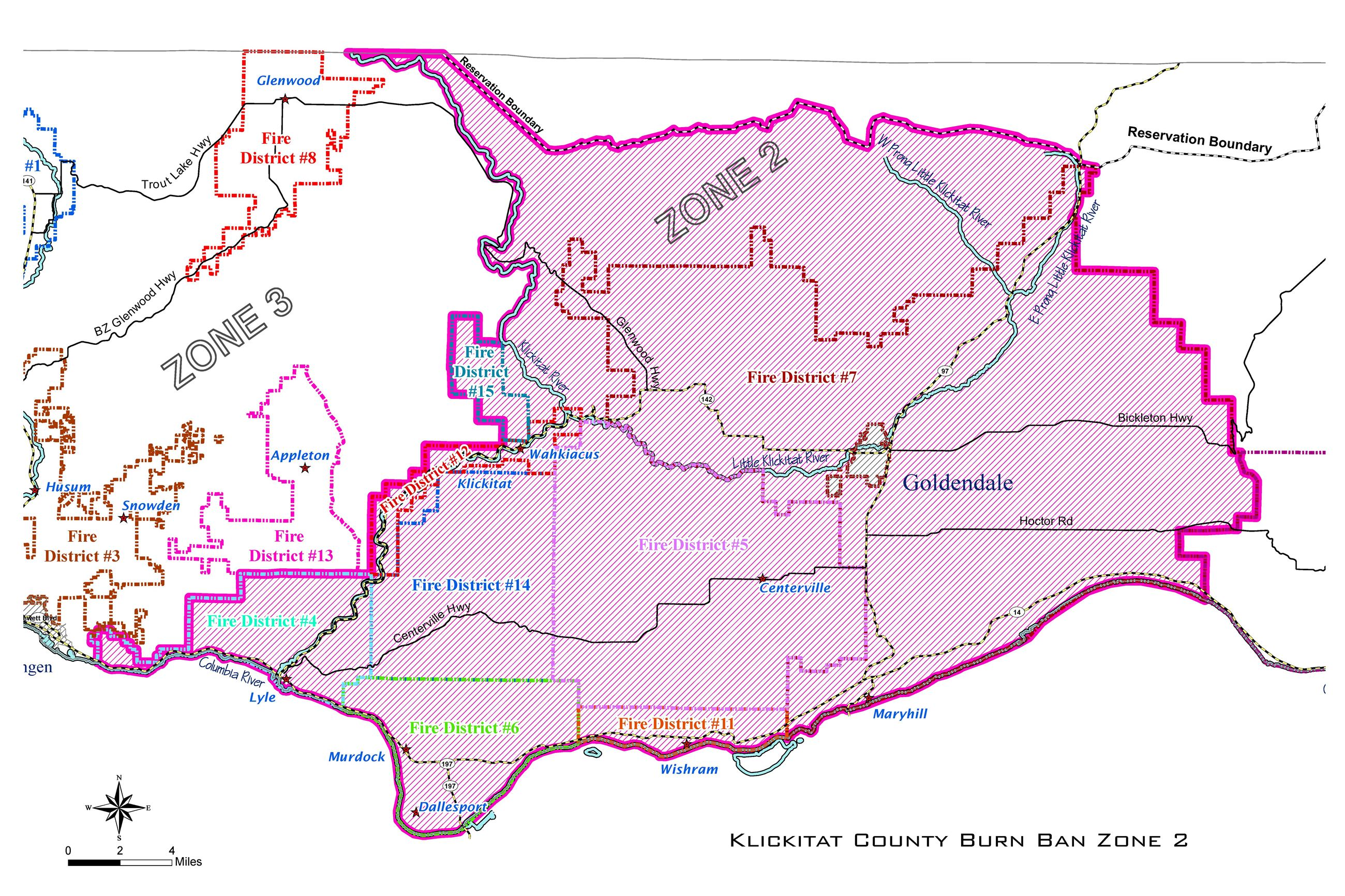 County Burn Ban Zone 2 Map
