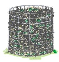 Clip art depicting the wire mesh holding bin composting method.