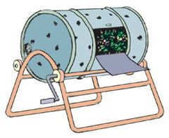Clip art depicting the barrel turning system composting method.