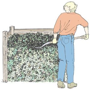 Clip art demonstrating Step 5 of constructing a compost pile.