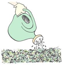 Clip art demonstrating Step 4 of constructing a compost pile.