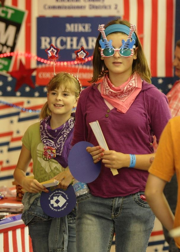 Two girls wear patriotic gear at the 2014 Klickitat County Fair.